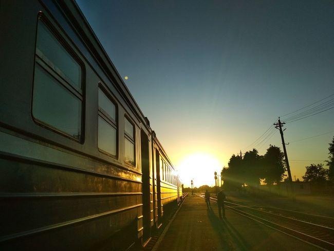 Sunset Railroad Track Rail Transportation Train - Vehicle Sky