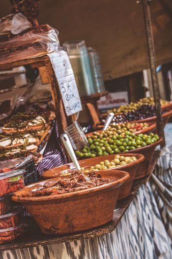High angle view of food at market stall
