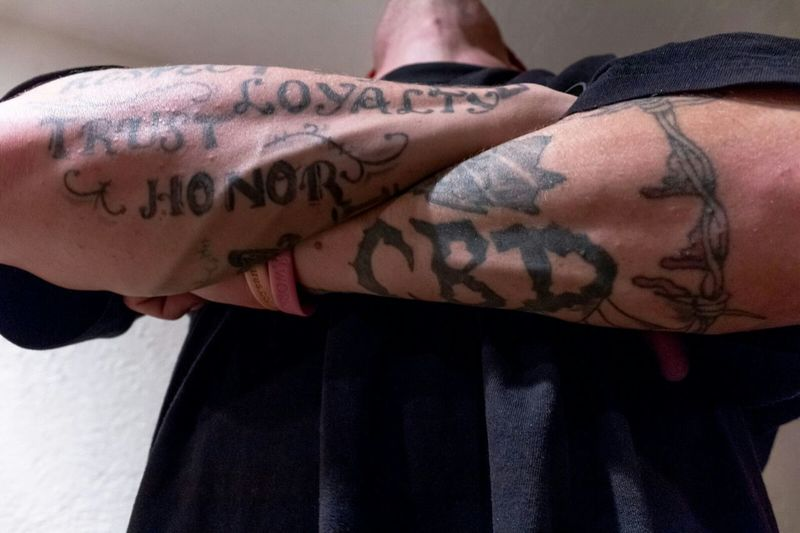 """Loyalty. Trust. Honor."" (2014) Tattoos Tough Guy Men Protrait Bodylanguage body art Inked One Man Close-up Crossed Arms Forearm Forearm Tattoo Muscular Muscular Arm Muscular Man No Face"