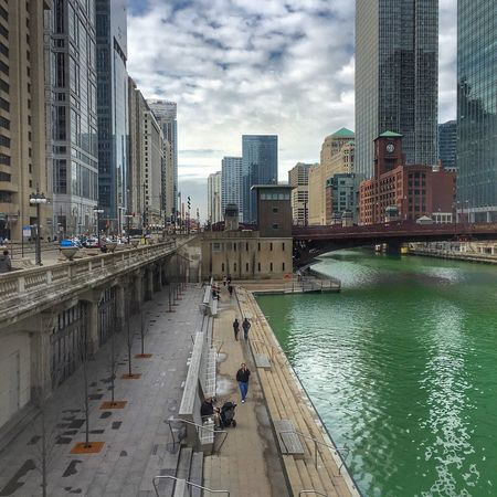 Chicago Chicago Riverwalk Green Green Green!  St Patrick's Day Lake Street Windy City Chicago Skyline Urbanphotography Amazing View EyeEm Gallery EyeEm Best Shots IPhoneography Gorgeous City Cityscape