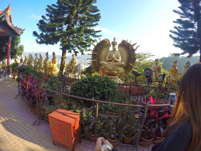 First Eyeem Photo Fisheye Architecture Tree Sculpture Statue Sky Spirituality Religion Ten Thousand Buddha Monaster Place Of Worship Buddhism