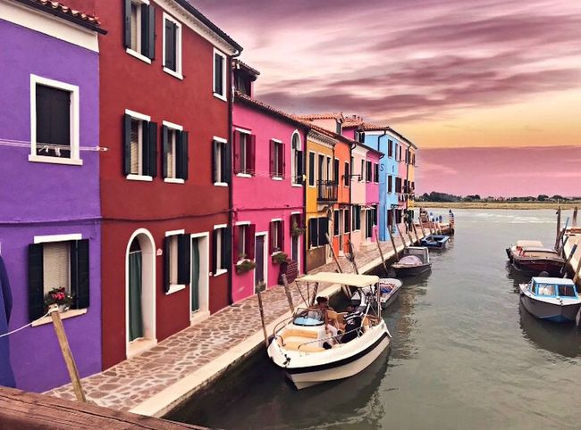 Burano, Italy 🎨 Water Transportation Nautical Vessel Mode Of Transportation Architecture Building Exterior Built Structure Sky Nature Residential District Cloud - Sky Building Waterfront No People Sunset House Day Outdoors Moored Sea