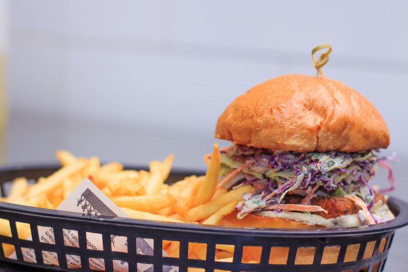 Close-up of burger in basket