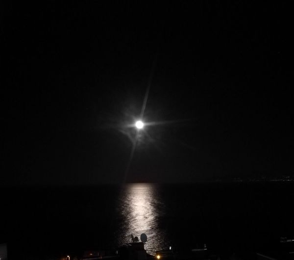 Turkey Black Sea Silhouette Tranquility Illuminated Sky Horizon Over Water No People Moon