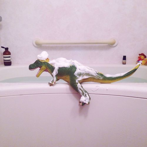 Toy Dinosaur Covered In Foam At Bathroom