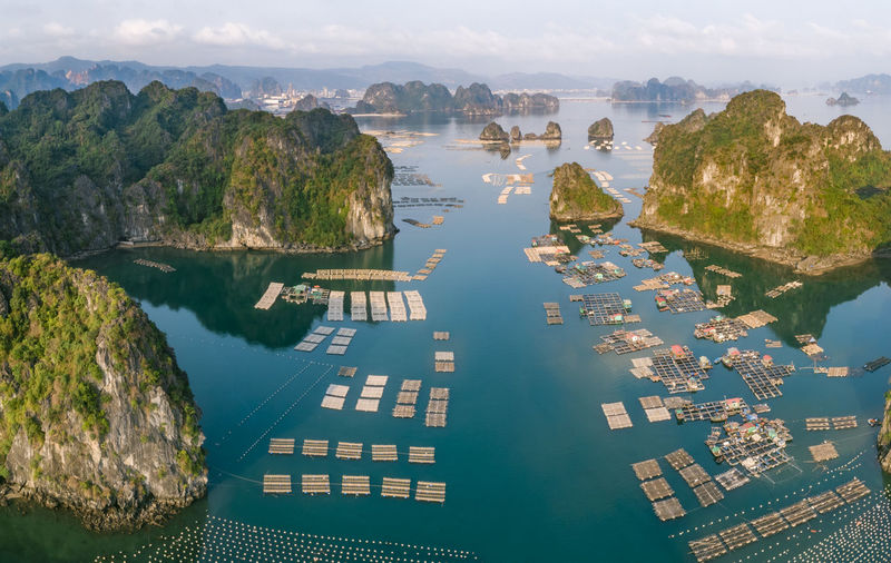 Ha Long Bay Fish Farm Fishing Boat Fishing Industry Sea Seascape Sea And Sky Sea Life Drone  High Angle View Nature Beauty In Nature Tranquility Blue Sea Island Limestone Islands Water Panorama