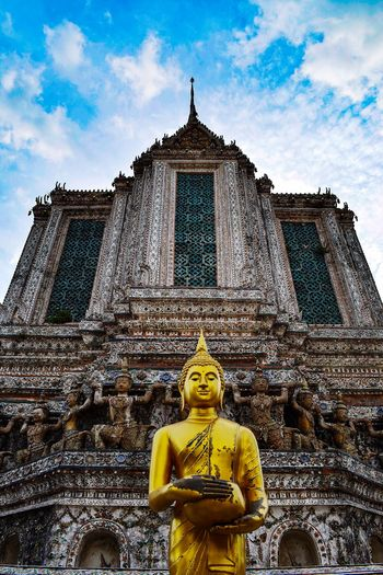 Bangkok Thailand Religion Spirituality Statue Sculpture Place Of Worship Human Representation Sky Low Angle View Golden Color Gold Colored Architecture Day No People Outdoors