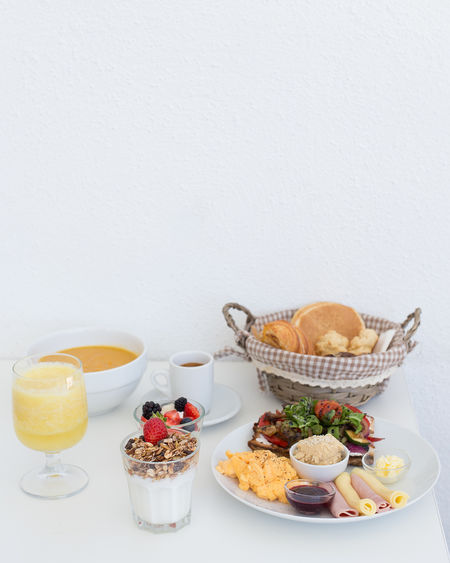 Fruit Food And Drink Sweet Food Raspberry Basket Blueberry Variation Dessert Healthy Eating White Background Freshness Indoors  No People Drink Food Drinking Glass Studio Shot Ready-to-eat Day Breakfast Brunch White Color