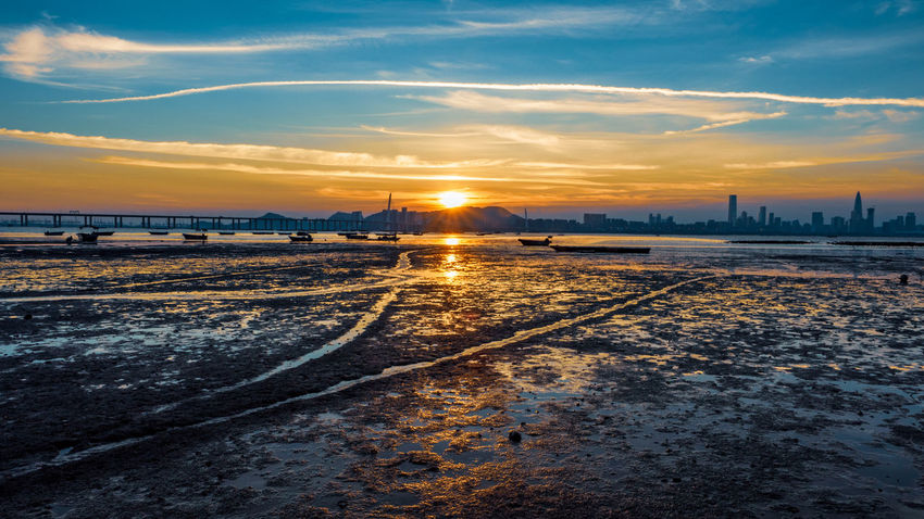 Cold Temperature Sunset Winter Snow Water Beach Salt - Mineral Sky Cloud - Sky Landscape