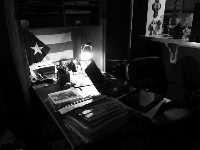 darkness and light Eclectic Black And White Workspace My Area  Desk Lamp Desklamp Papers Messy Desk Crucifix Catholic Flag Puerto Rico Work Area Desk Office Indoors  Chair Seat Table Illuminated No People Furniture Home Interior Business Night