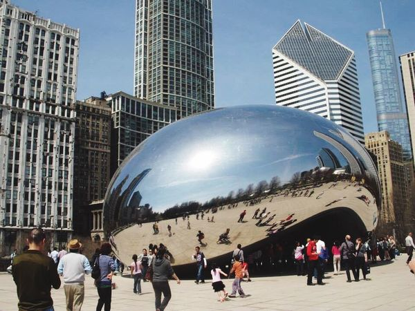 Cloud Gate Chicago Large Group Of People Architecture Chicago Millennium Park Skyscraper Built Structure Real People City Lifestyles Women Modern Day Travel Destinations Outdoors Men Sky Ice Rink People Adult Adults Only