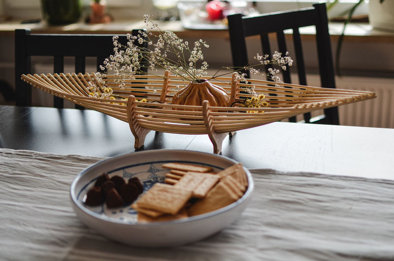 Table Food And Drink Wicker Indoors  Food Still Life Ready-to-eat Freshness Basket Container No People Selective Focus Brown Close-up Serving Size Plate Sweet Food Baked Furniture Focus On Foreground Setting Temptation Breakfast