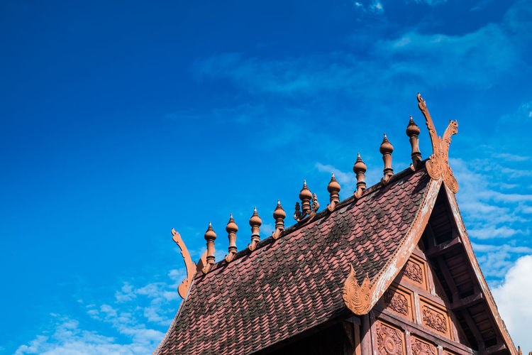 Low Angle View Of Lizard On Roof Against Sky