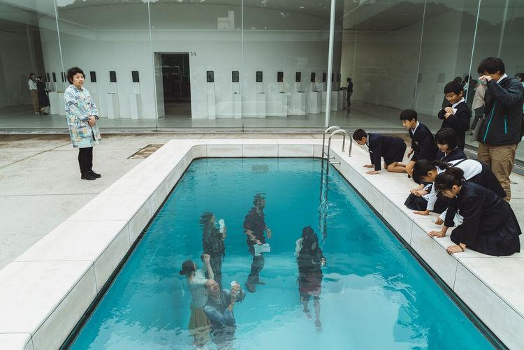 Art Installation Japan Japan Photography School Class School Class Teacher The Street Photographer - 2018 EyeEm Awards Art Group Of People Large Group Of People Males  Pool Real People Swimming Pool Water