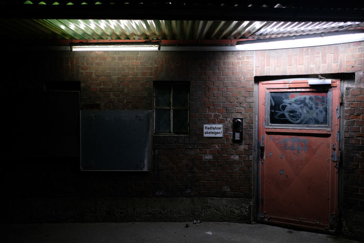 An old industrial landscape in Düsseldorf at night. Architecture Built Structure Door Doorway Entrance Exit Sign Faded Color Indoors  Industrial Industry Low Light Night Nightphotography No People