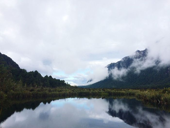 New Zealand NZ Mirror Lake Travel Nature Mountain Tranquility Tranquil Scene Scenics Sky Water Beauty In Nature Reflection Lake Cloud - Sky Outdoors Idyllic Landscape Tree Mountain Range Day No People The Great Outdoors - 2017 EyeEm Awards