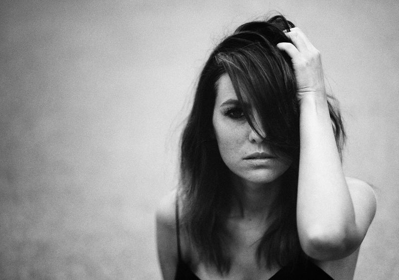 Hand In Hair Depression - Sadness One Person Young Adult Beautiful Woman Young Women Indoors  Only Women Women One Young Woman Only Close-up Adults Only People One Woman Only Day Adult