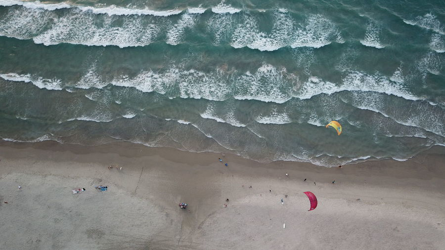 High angle view of people on the beach