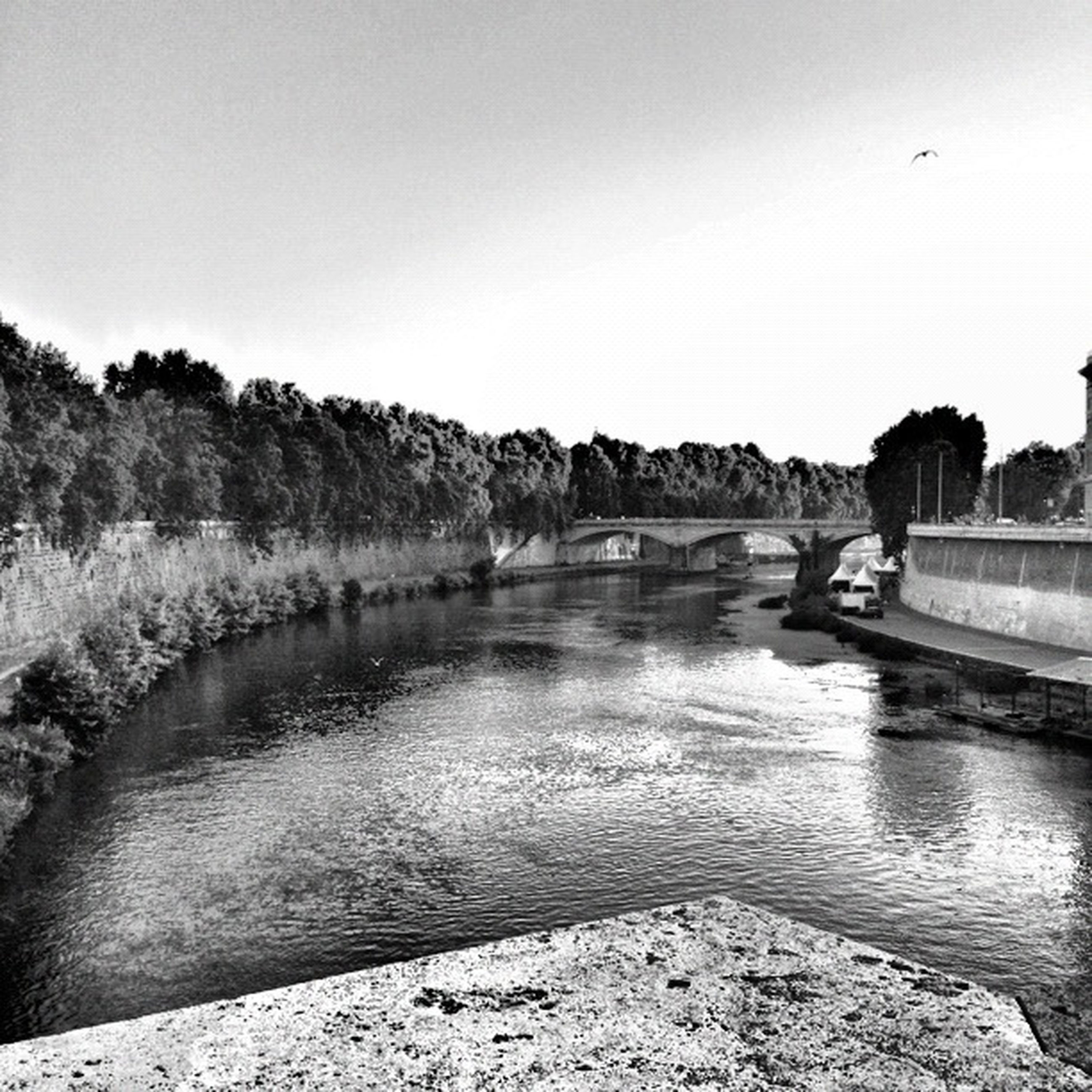 water, clear sky, river, bridge - man made structure, tranquil scene, tranquility, tree, built structure, copy space, connection, scenics, nature, lake, architecture, beauty in nature, reflection, sky, transportation, rock - object, bridge