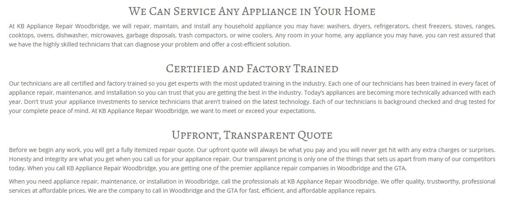 KB Appliance Repair Woodbridge 4700 Hwy 7 Unit 713 Woodbridge, ON L4L 0B4 (289) 236-0026 https://appliancerepairwoodbridge.ca/ Woodbridge ON Appliance Repair Appliance Repair IN Woodbridge Appliance Repair Woodbridge Appliance Repair Woodbridge ON Woodbridge Appliance Repair