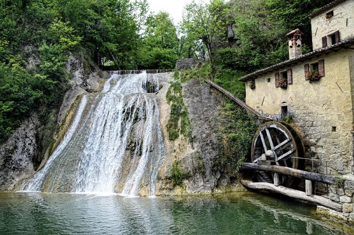 Molinetto della Croda Water Watermill Water Wheel River Outdoors Day Motion Architecture Bridge - Man Made Structure Built Structure Tree No People Nature Building Exterior Sky