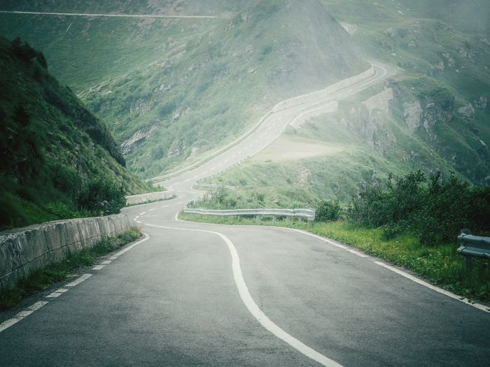 View of winding road on mountain