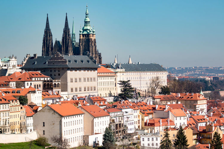Architecture Building Exterior Cathedral City Cityscape Day Outdoors Prague Red Roof Sky