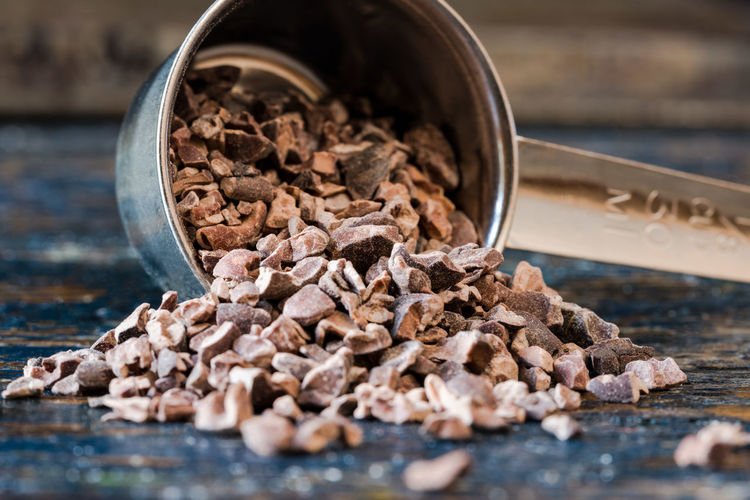 Cocoa Nibs Cacao Chocolate Chunks Coco Cocoa Food Healthy Ingredient Measuring Cup Nibs Spilled Unprocessed