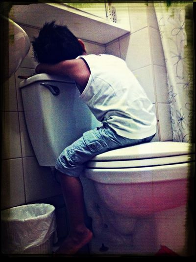 Tired Sleeping Funny Moments Toilet