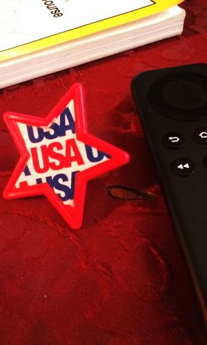 Remote Control Indoors  Close-up Day Red White Blue Redtablecloth Redstar USA Star Shape Book