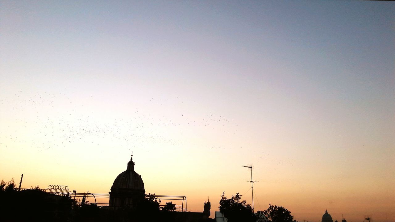 sunset, architecture, silhouette, building exterior, built structure, dome, no people, sky, outdoors, clear sky, city, nature, bird