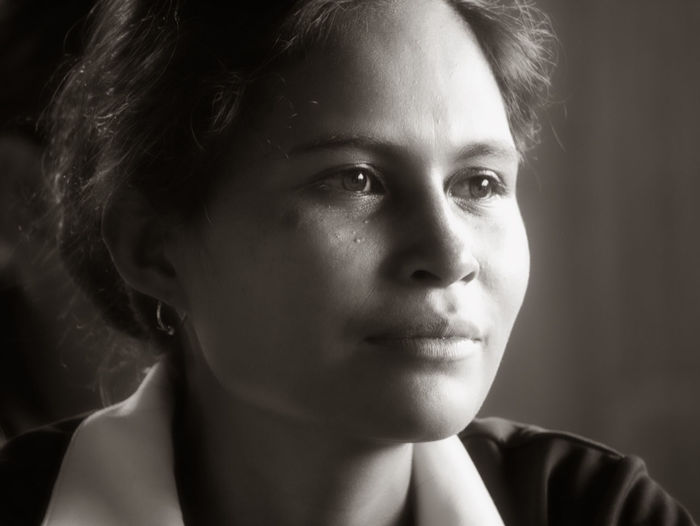 Woman from Viqueue, Timor Leste TIMOR LESTE Woman Black And White Close-up Day Focus On Foreground Front View Headshot Indoors  One Person Portrait Real People Young Adult Young Women