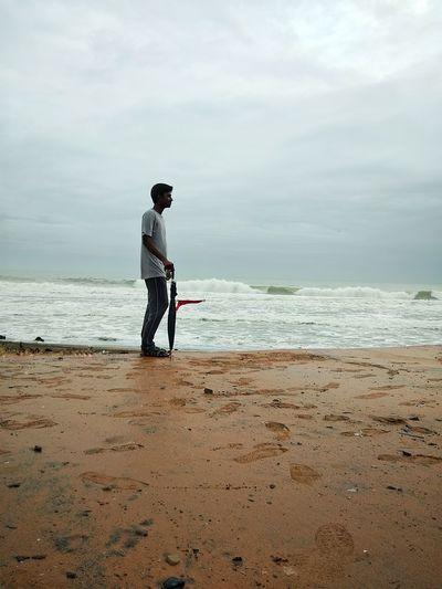 Full Length Sea Water Beach Sportsman Standing Men Sand Sky Horizon Over Water Shore Wave Sandy Beach Crashing Ocean