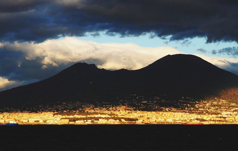 Mountain Beauty In Nature Cloud - Sky No People Coast Light And Shadow Light Volcano Ominous Naples Italy