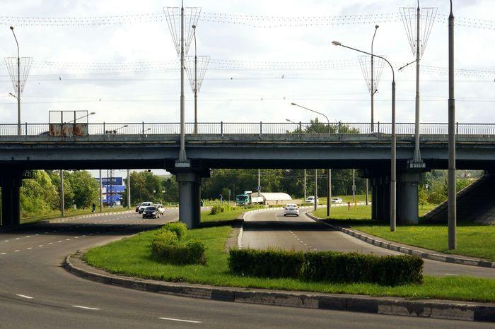 Road Bridge Street Lights Russia Siberia Kuzbass Novokuznetsk