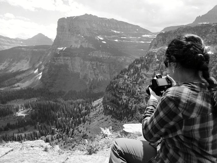 Photography Going To The Sun Road Glacier National Park Montana Mountain Adventure Women Men Togetherness Sky Mountain Range Landscape Cloud - Sky Snowcapped Mountain Rocky Mountains Physical Geography