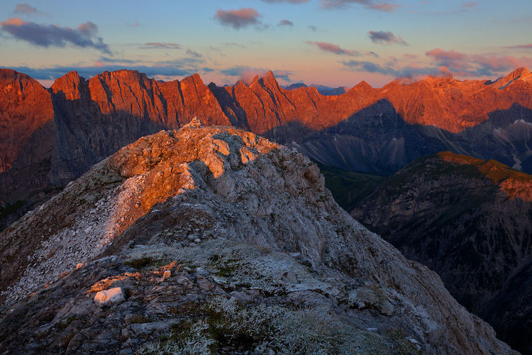 Red Walls Karwendel Hiking Red Rock Walls Alpine Glow Alpine Landscape Alps Beauty In Nature Glow Landscape Mountain Mountain Peak Mountain Range Mountains Nature No People Non-urban Scene Outdoors Rock Rock Formation Scenics - Nature Sunrise Sunset Tranquility