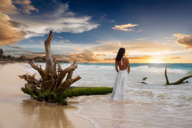 Rear view of woman standing by driftwood at beach against sky during sunset