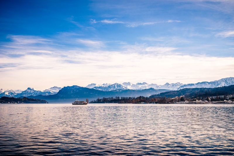 Luzern Switzerland Schweiz Vierwaldstättersee Lake Lake Lucerne Lucerne Nature Mountain Water Scenics Blue Sky Ship Outdoors Ice Age Transportation The Great Outdoors - 2017 EyeEm Awards