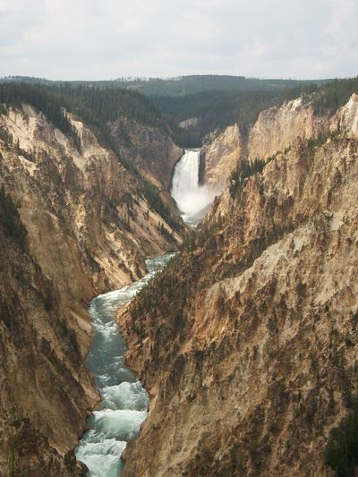 Grand Canyon of the Yellowstone, Yellowstone National Park Yellowstone National Park Nature Outdoors Grand Canyon Of The Yellowstone Scenics - Nature Mountain Day Water Beauty In Nature Environment No People Rock High Angle View Non-urban Scene Sky Travel Destinations Landscape Tranquil Scene Rock - Object Tranquility Cloud - Sky Flowing Water Flowing Power In Nature Waterfall