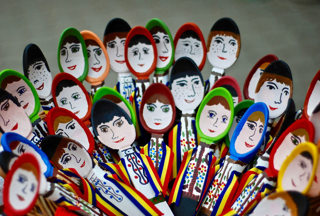 Colourful Rethink Things Romania Spoon Arrangement Art Craft Crowd Faces Multi Colored Popular Art Wooden