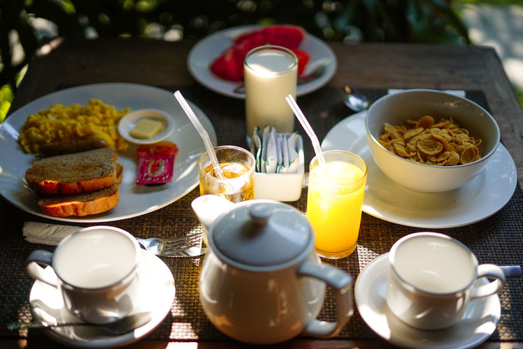 happy breakfast :) Food And Drink Food Table Drink High Angle View Ready-to-eat No People Freshness Refreshment Cup Bowl Plate Kitchen Utensil Meal Still Life Close-up Indoors  Healthy Eating Spoon Household Equipment Crockery Teapot Breakfast Glass Tea Cup The Foodie - 2019 EyeEm Awards