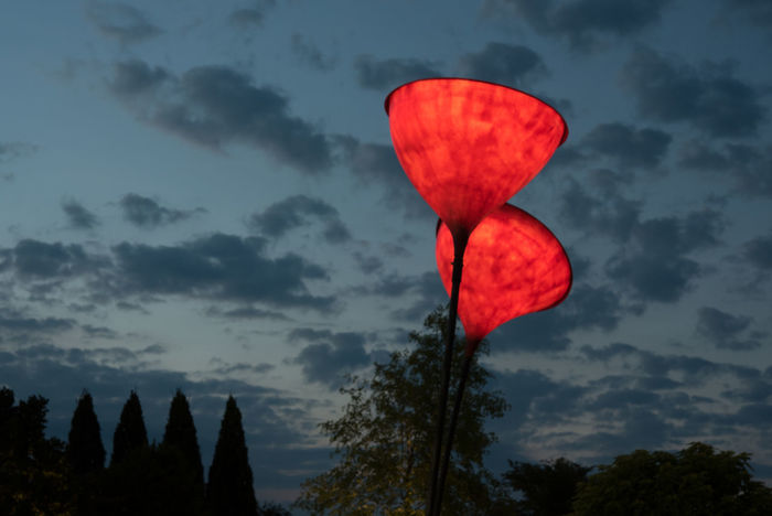 Nice entree of an otherwise disappointing illumination exhibition in Park der Gärten Artificial Beauty In Nature Cloud - Sky Exhibition Flowers Illumination Low Angle View No People Outdoors Red Scenics Sky Sunset