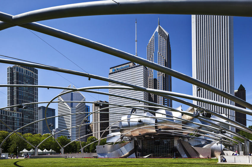 Chicago Clear Sky Concert Hall  Full Frame Jay Pritzker Pavilion Millennium Park Outdoor Pavilion