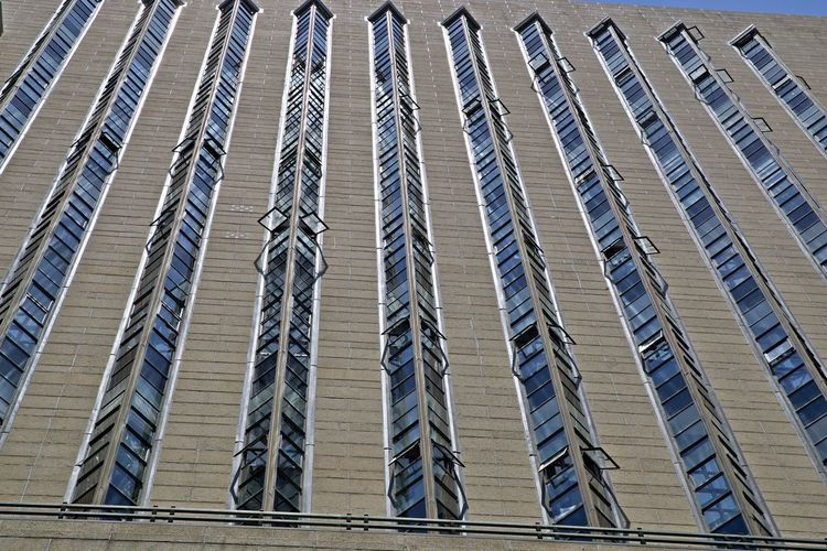 Architecture Built Structure City Building Exterior Low Angle View Building Modern Pattern Full Frame No People Glass - Material Office Building Exterior Backgrounds Tall - High Outdoors In A Row Window