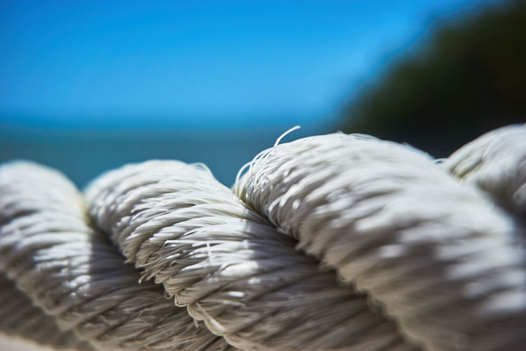 Rope Close-up No People Blue Focus On Foreground Selective Focus Day Pattern Still Life Twisted Sea Textile White Color Tied Up Textured  Wool Nature String Strength Outdoors Softness Jute SonyAlpha6000 Sonyalpha Photography Belize