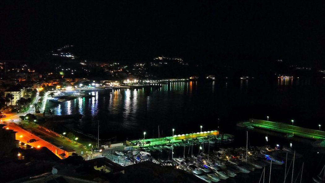 Night Illuminated Cityscape Panorama Sea