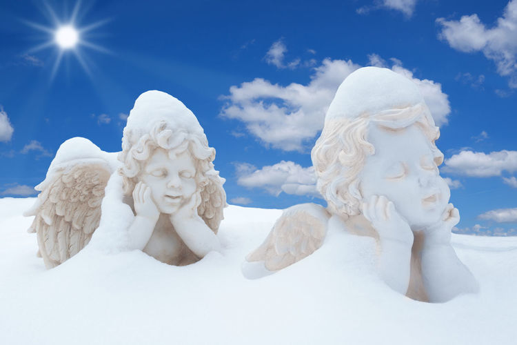 Close-up of statues on snow covered land against sky