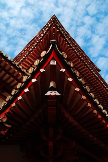Architechtural Details Bell Blue Sky Chime Chinese Clouds And Sky Details Outdoors Roof Temple