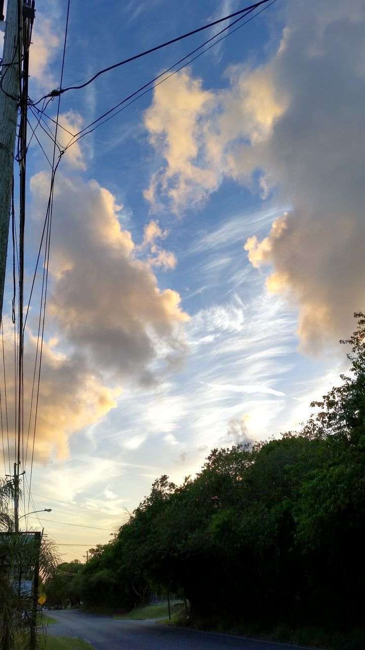 cable, sky, cloud - sky, tree, power line, power supply, electricity, no people, electricity pylon, sunset, scenics, outdoors, nature, telephone line, beauty in nature, low angle view, day